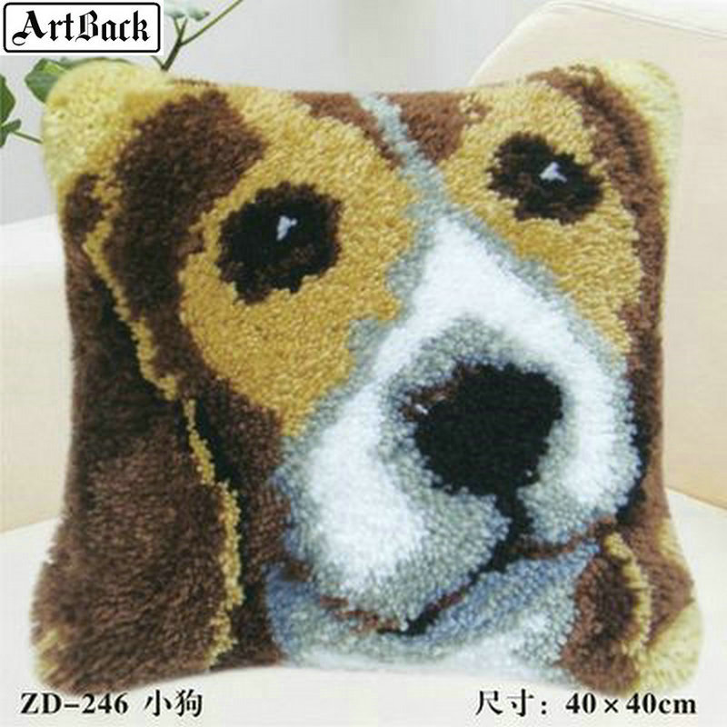 25 style animal lock hook wool embroidery dog handmade segment embroidery pillowcase diy crochet embroidery crafts kit