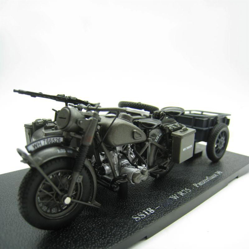 1/24 World War II German Army BMM R75 Three-wheeled Motorcycle 750 Prototype Simulation Alloy Car Vehicle Model Collection Gift