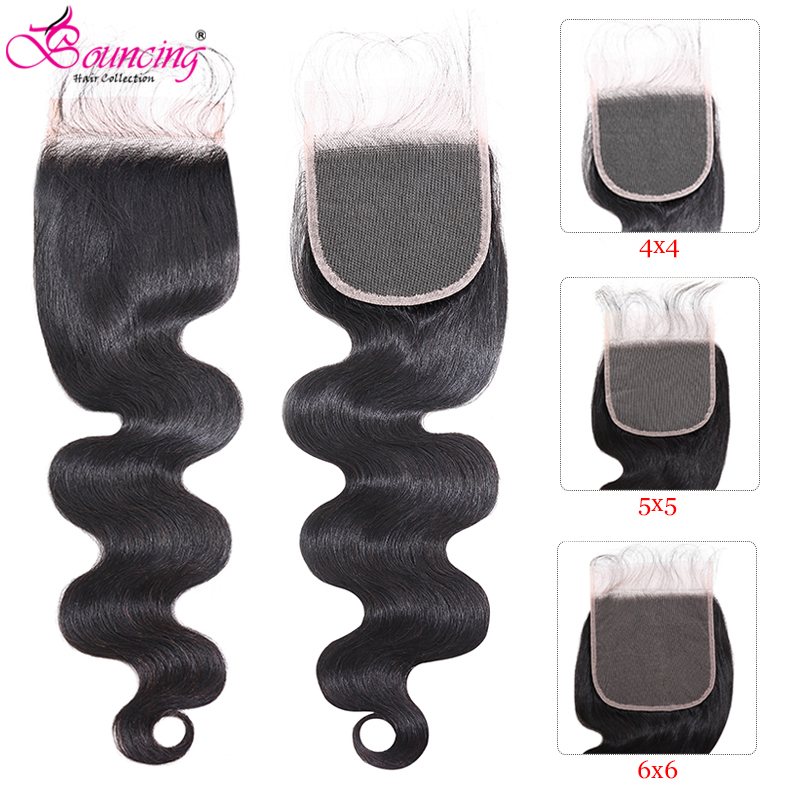 Bouncing Peruvian Body Wave 6x6 Closure Natural Color 5x5 Closure 4x4 Lace Closure 100% Remy Human Hair Closure Hair Extensions