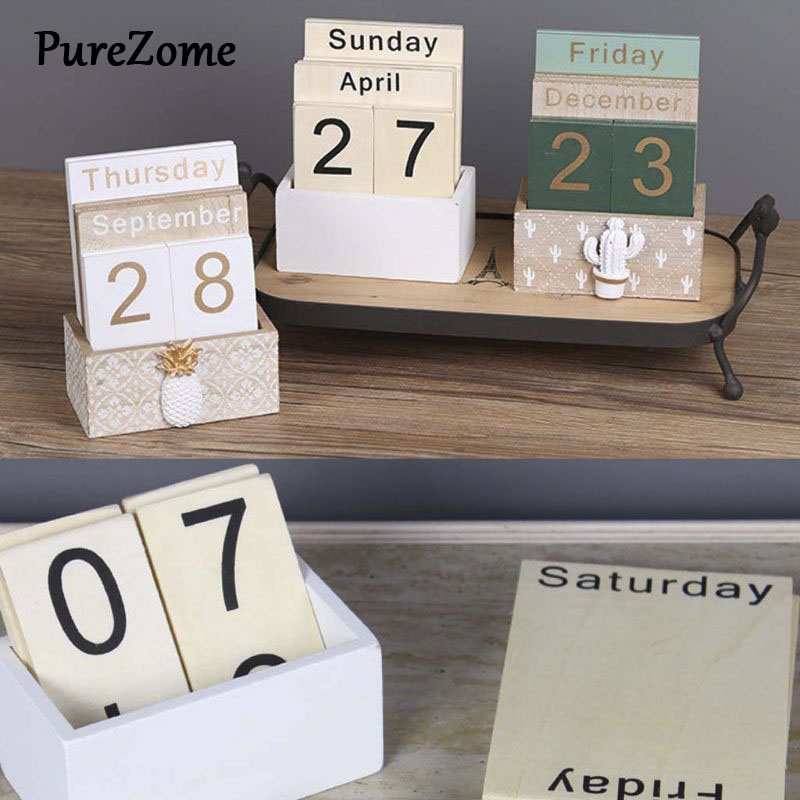Vintage Wooden Perpetual Calendar Eternal Block Planner Photography Props Month Week Date Display Home Office Desktop Decoration