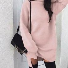 Autumn Winter Warm Long Sleeve Women Knitted Sweater Dress White Turtleneck Swea