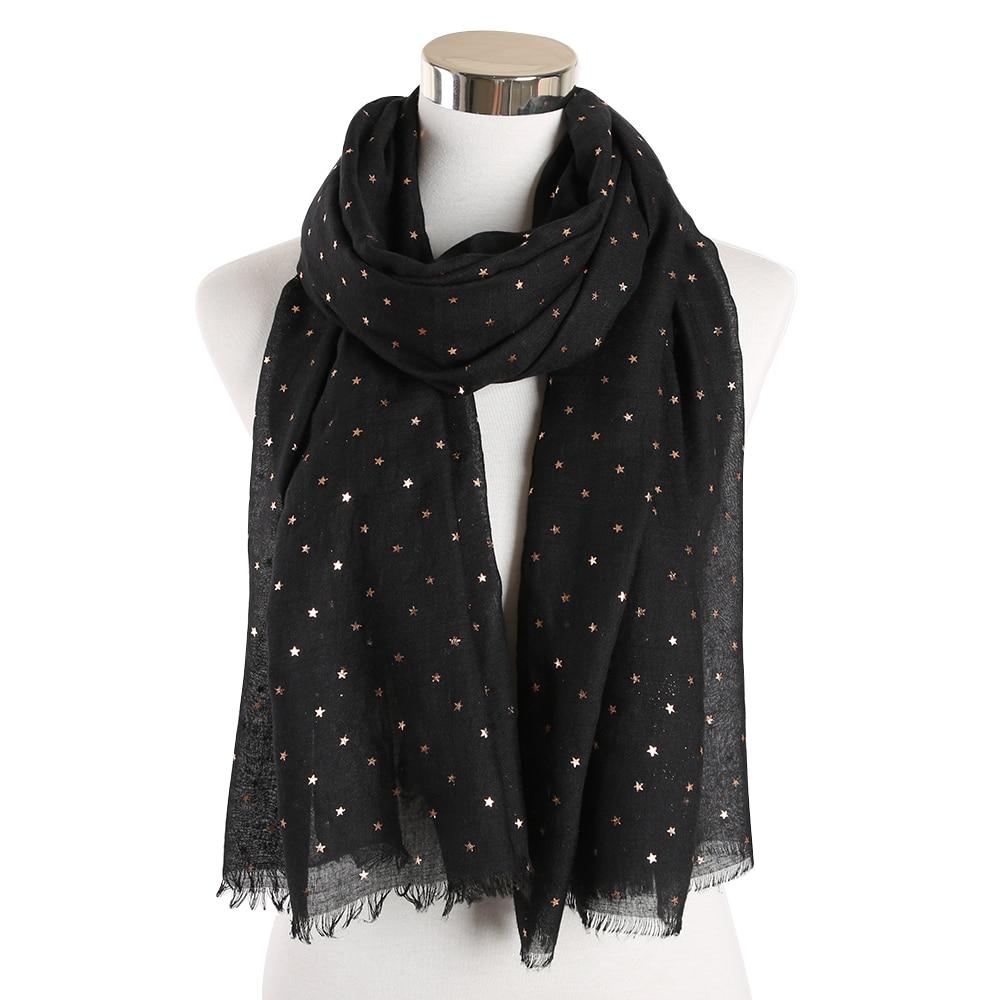 Fashion Black Grey Foil Gold Sliver Glitter Star Print Scarves Shawls For Women Ladies Wrap Scarf Muffler Islamic Hijab