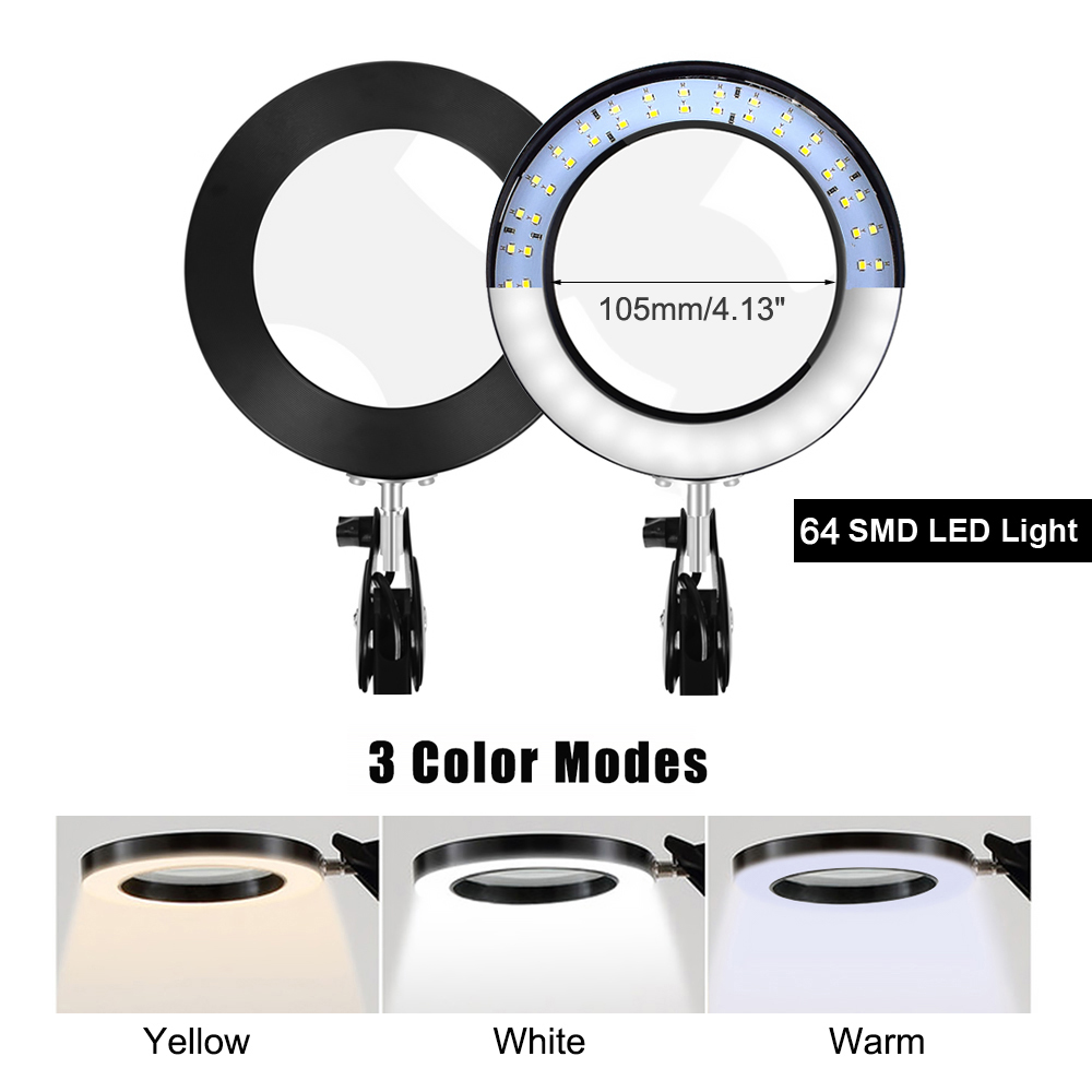 Magnifier Magnifying LED Jewelry Reading Table 5X Hand USB Soldering Light Lamp Glass Desk Third Flexible With Clamp