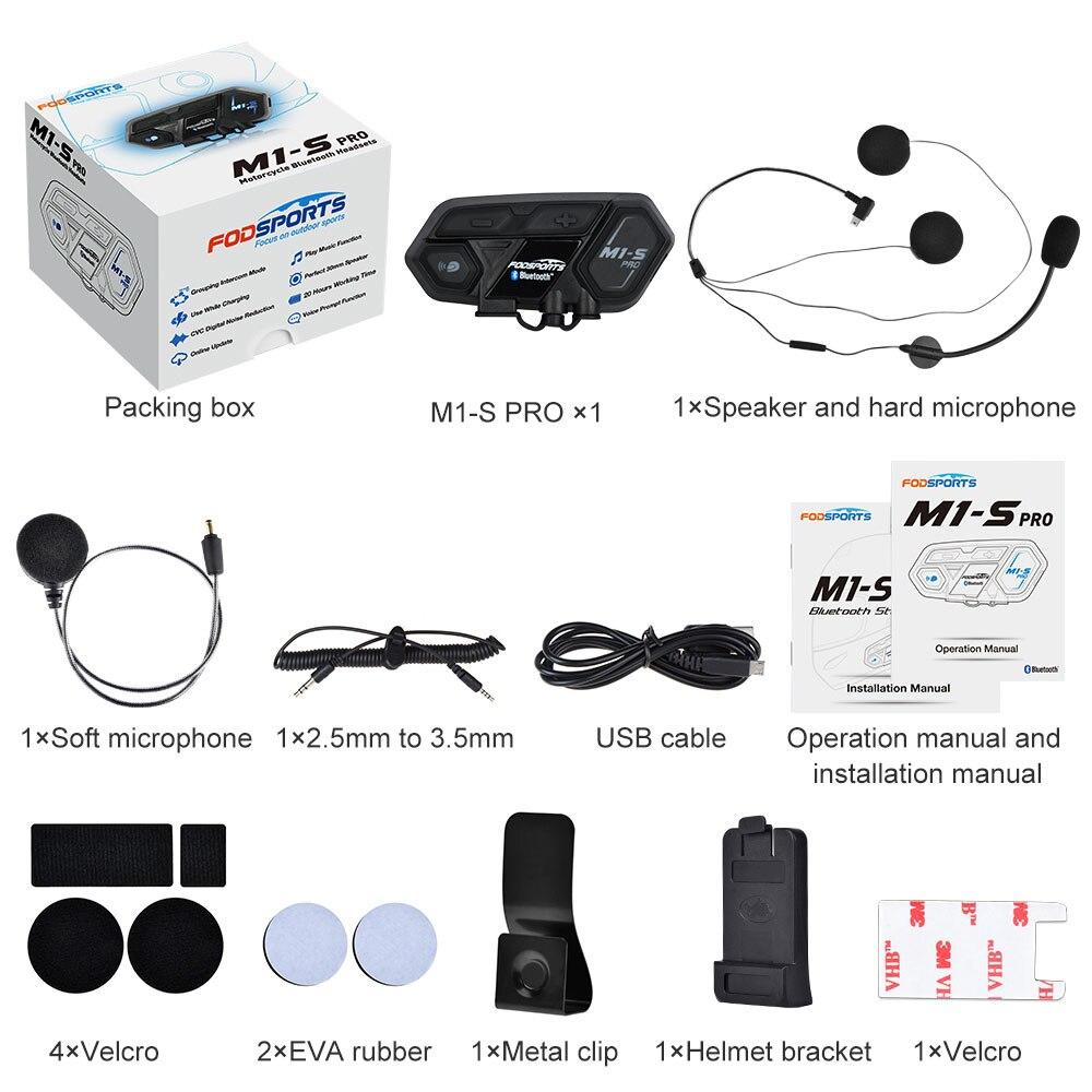 Купить с кэшбэком Fodsports M1-S Pro Helmet intercom Headset Motorcycle Waterproof Intercom Bluetooth interphone 8 Rider 1200M Intercomunicador
