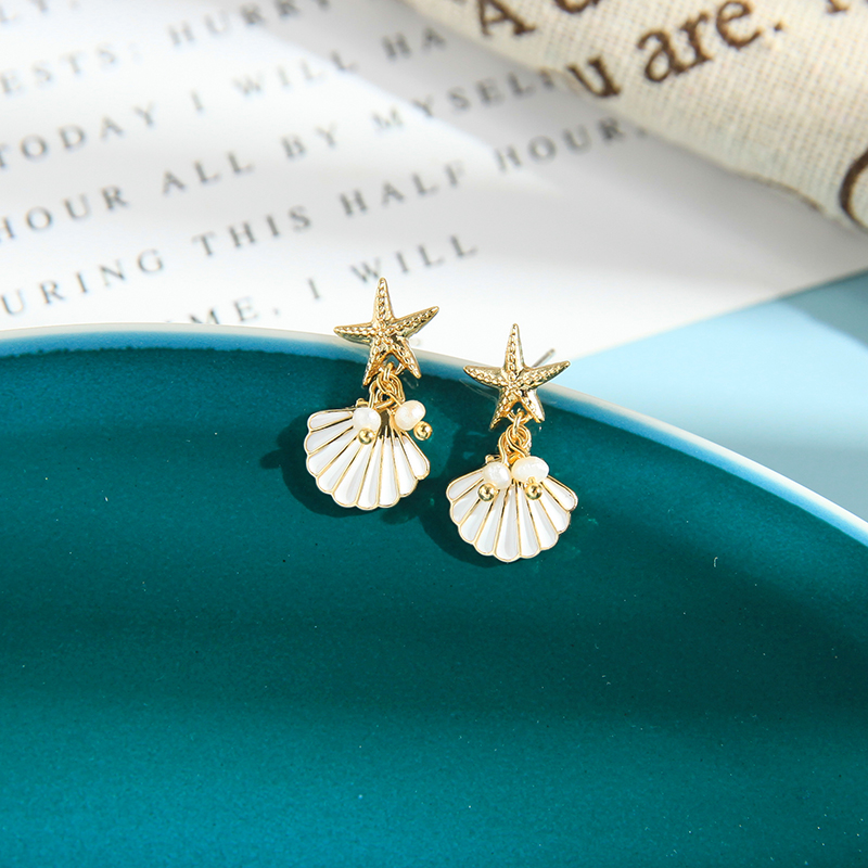 2020 New Arrival Gold Color Imitation Pearl Star Hypoallergenic Starfish Shell Enamel Dangle Beach Earrings For Women Wholesale