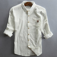 2020 봄과 여름 캐주얼 남성 린넨 셔츠 남성용 mid sleeve loose straight cotton dress shirt 빈티지 streetwear 5xl a738(China)