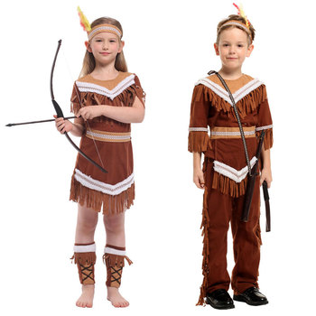 Umorden Halloween Costumes Kids Child Indian Princess Native Archer Huntress Chief Costume Girls Boys Purim Mardi Gras Cosplay umorden toddler girls white spooky ghost costume elf fairy costumes for kids child halloween purim party mardi gras fancy dress