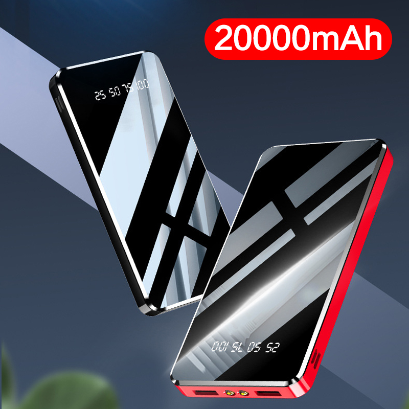 Slim Power Bank 20000mAh Portable Charger Fast Charging Powerbank External Battery Charger For Xiaomi Mi iPhone 2 USB Poverbank|Power Bank| |  - title=