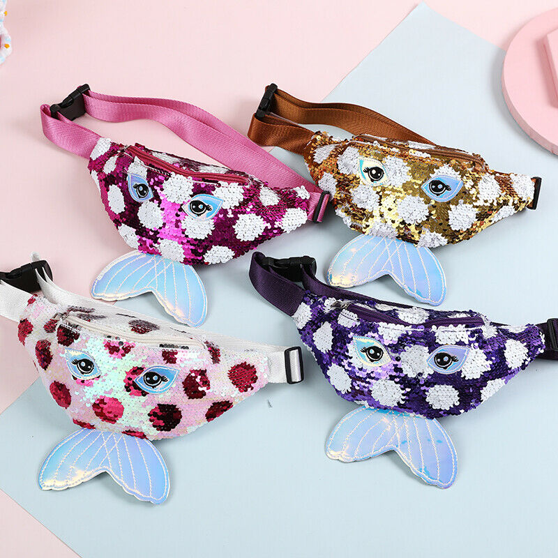 Kids Baby Sequins Belt Waist Wallet Hip Pouch Bum Bag Travel Holiday Party Waist Bags