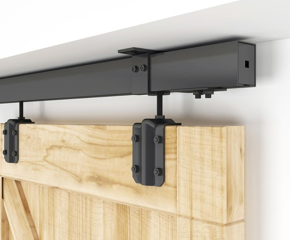 DIYHD 5FT-8FT Ceiling Mount Black Box Track Sliding Barn Door Hardware For Exterior Door