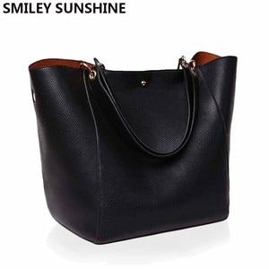 Image 1 - Real Genuine Leather Women Shoulder Bag High Quality Designer Leather Handbag Female Big Tote Ladies Hand Bags for women 2020