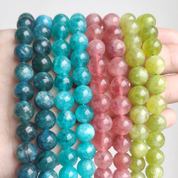Natural Stone Beads Amazonite Blue Apatite Strawberry Quartzs Loose Round Beads for Jewelry Making DIY Bracelet 15inch Mineral
