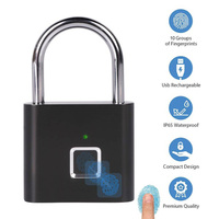 Golden Security Keyless USB Rechargeable Door Lock Fingerprint Smart Padlock Quick Unlock Zinc alloy Metal Self Developing Chip|Elektrikli Kilit|   -