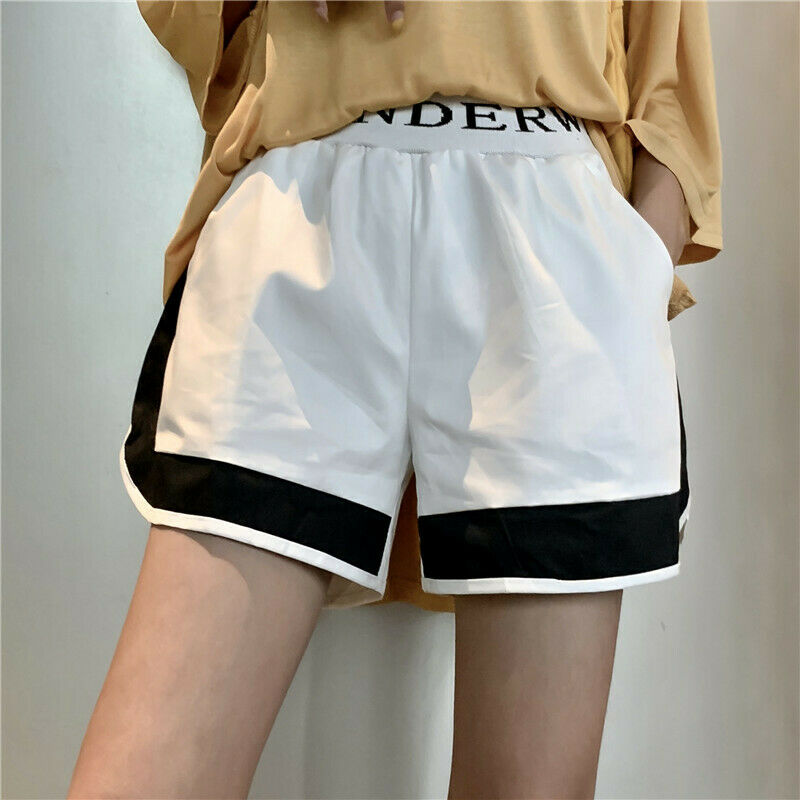 Brand New Women Outwear Running Activewear Shorts Korea Style Fitness Sport Patchwork Color Loose Letter Print Shorts