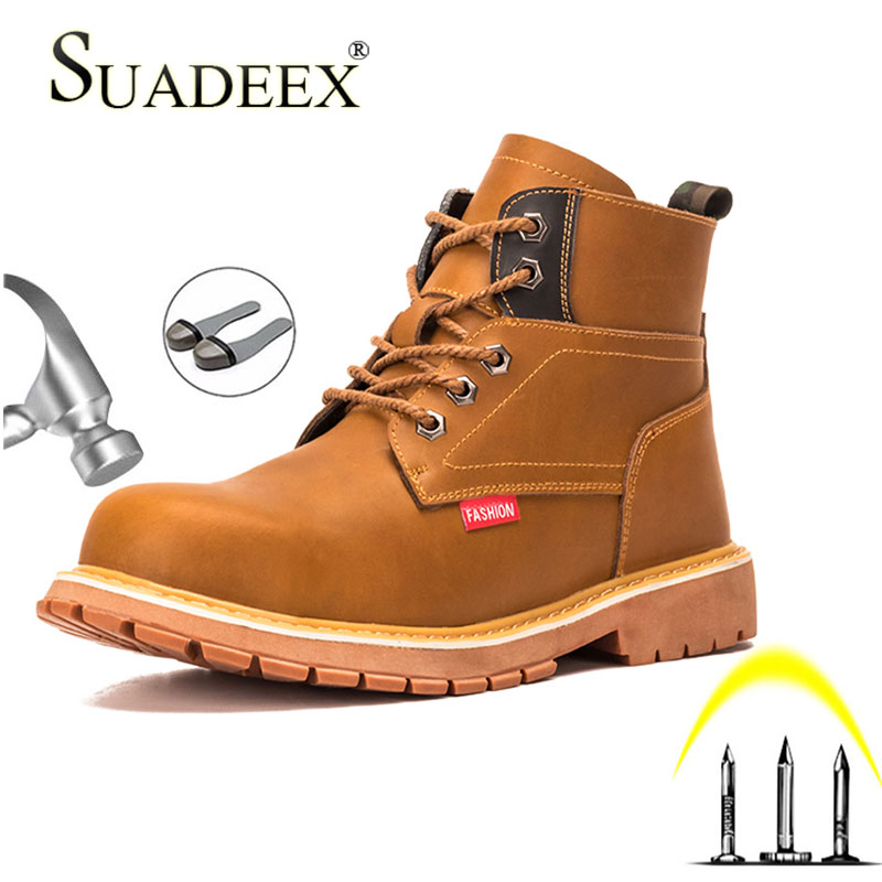 SUADEEX Safety Work Martin Boots For Men Anti-smashing Steel Toe Cap Safety Shoes Waterproof Indestructible Work Shoes Boots image