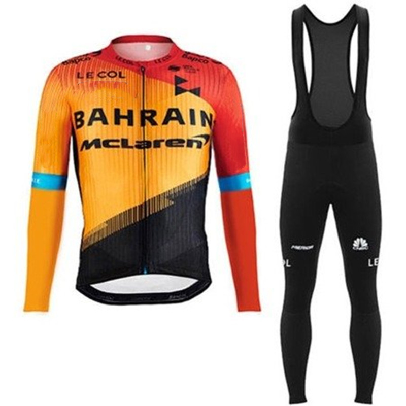 Mens Winter Cycling Bike Outfits Thermal Jersey Shirt Bib Pants Tights Body Suit