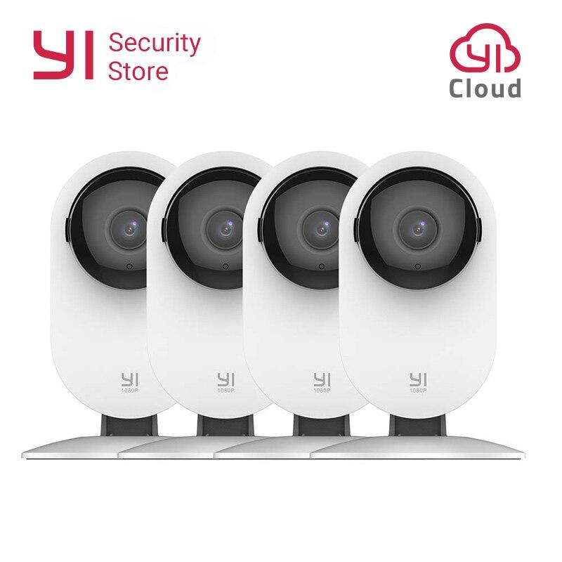 Yi casa câmera 1080 p 4 pçs sistema de vigilância segurança visão noturna sem fio ip bayby monitor wi fi cam cctv yi nuvem câmera coruja