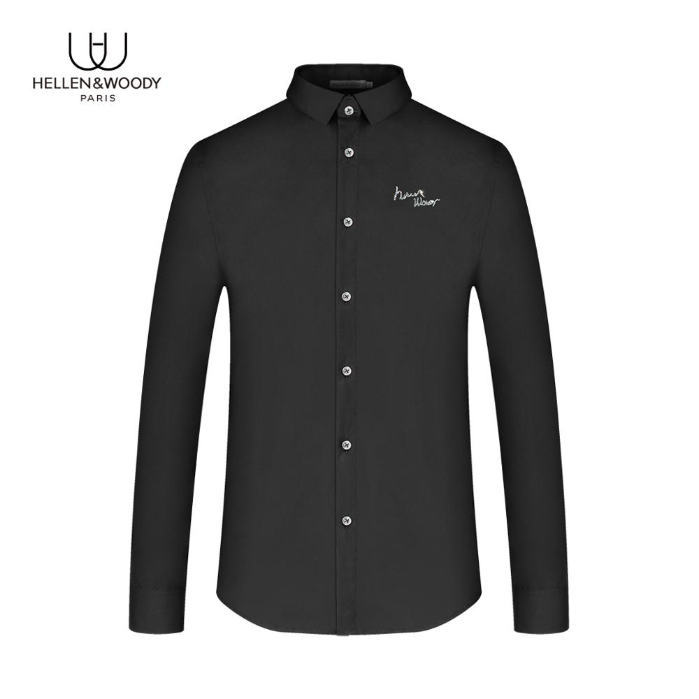 HW New Arrival Mens Fashion 2020 Luxury Brand Casual Black Shirts with Diamond Logo Cotton Zipper Washed Shirts 1