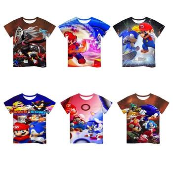 Mario VS Sonic 3D Cartoon T Shirt kids clothes Summer Short Printed sonic t-shirt Boys Streetwear Teen Children Tops Clothing glamglow gravity sonic blue t