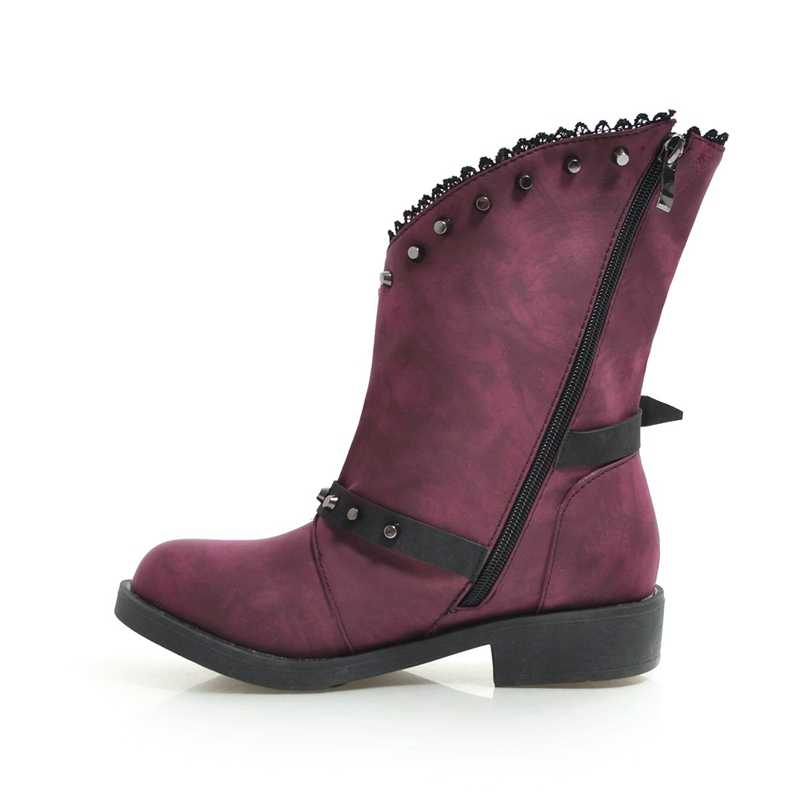 REAVE KEDI kadın batı çizmeler perçinler retro Gotik toka ayak bileği patik bayanlar düz topuklu ayakkabı botas mujer bottines