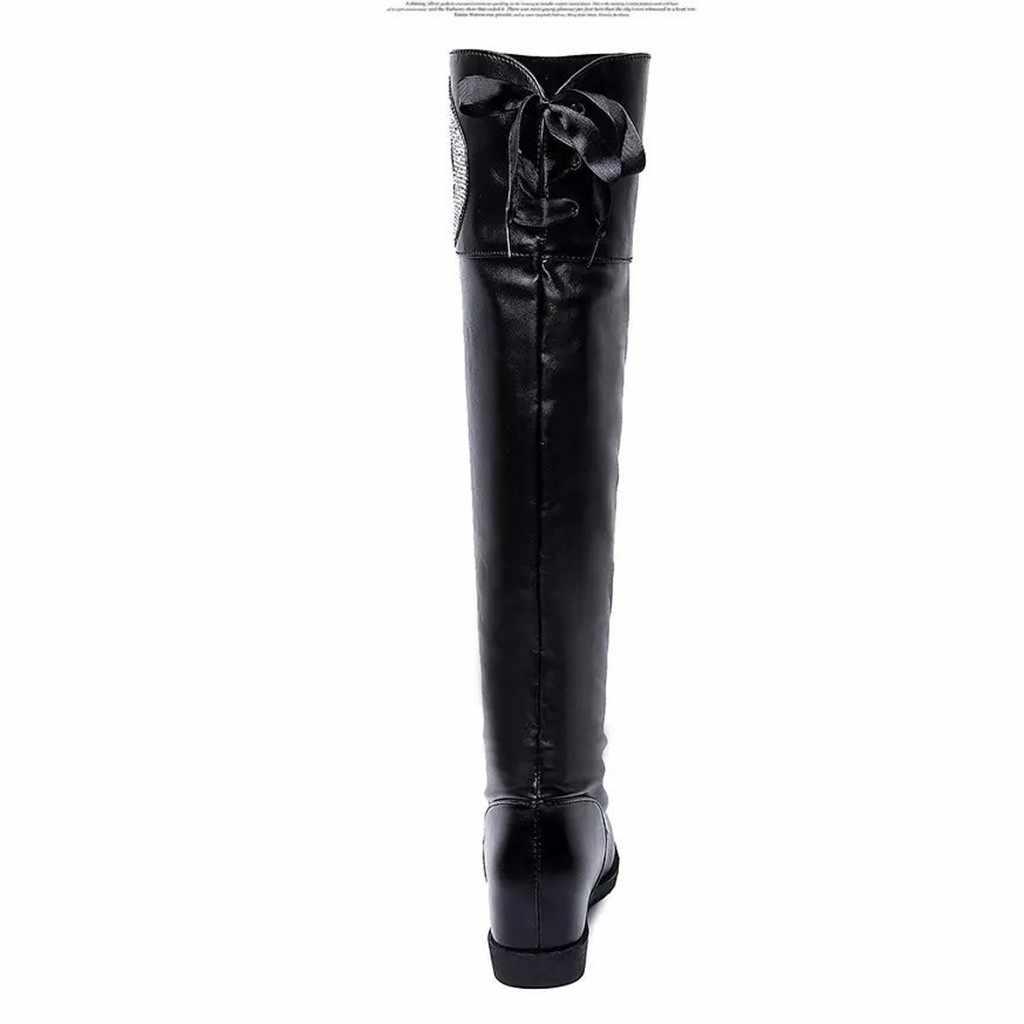 รองเท้าแฟชั่นฤดูหนาว PUSH เข่าสูงสีดำรองเท้าผู้หญิงฤดูหนาวกว่า Kneeth Star Mood คริสตัลรอบ Toe เพิ่มเซ็กซี่รองเท้า