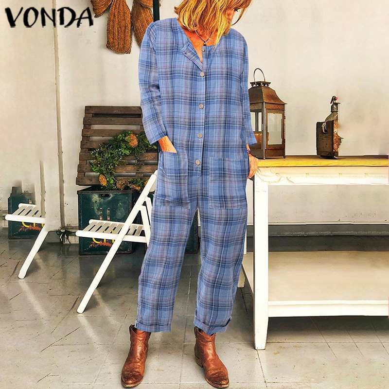Overalls For Women Long Rompers VONDA 2019 Autumn Vintage Cotton Long Sleeve Plaid Jumpsuit One Piece Pants Femme Pantalon S-5XL