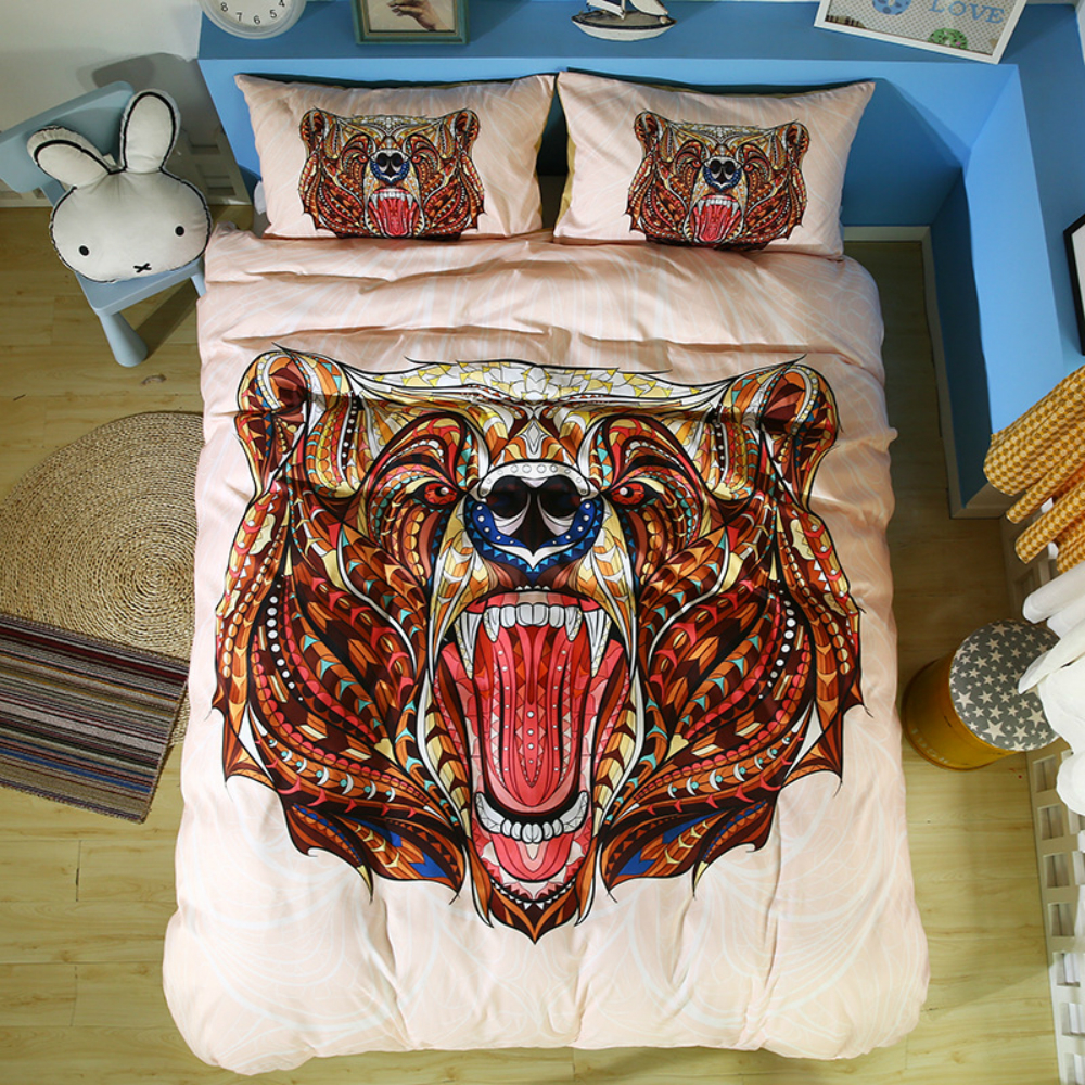 Bohemian Bedding Set Printed Animals For Home Duvet Cover Set With Pillowcase Queen King 4 Sizes Bedclothes 2 3Pcs Home Textile in Bedding Sets from Home Garden