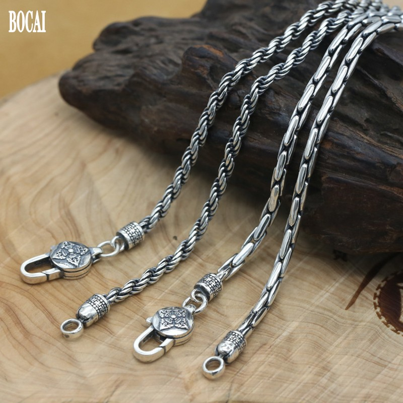 100% real S925 pure silver stylish and simple men's bamboo necklace woven silver chain handmade Thai silver man necklace