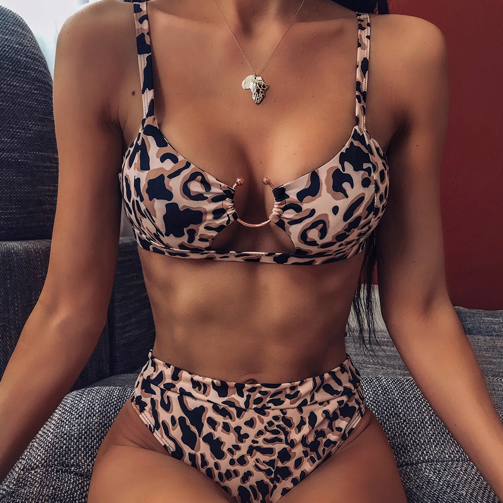 Summer Swimwear Women Sexy Padded Bikinis Set 2020 New Leopard Python Printed Sling Two Pieces Retro Bathing Suit Beach Wear D30