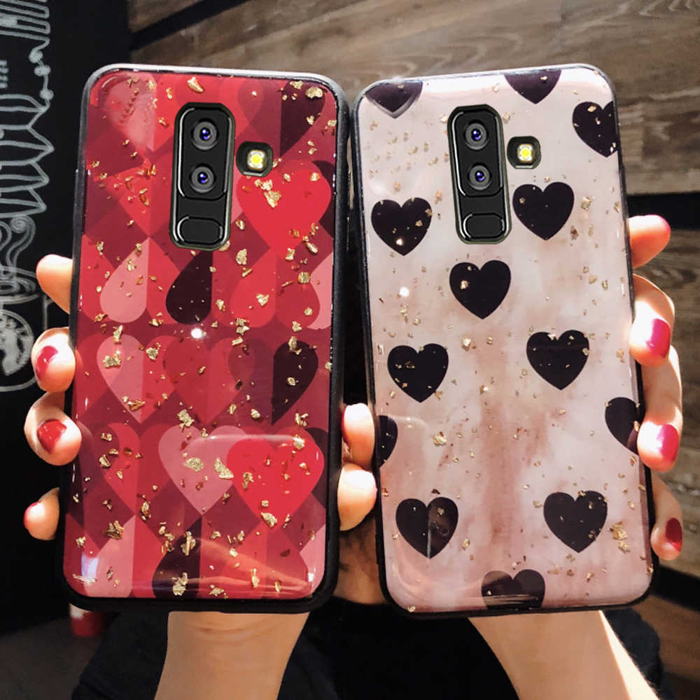 Red love phone back capinha,etui,coque,cover,case for samsung galaxy a6 a8 plus a750 a7 a9 2018 a 6 7 8 9 a6plus a8plus silicone