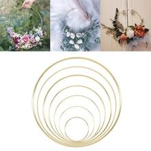 1 Uds 10 40cm anillo de Metal dorado de hierro portátil guirnalda para Baby Shower boda flores para novia corona hecha a mano flores atrapasueños decoración de aro