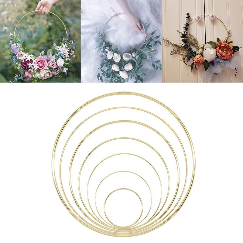 1Pcs 10-40cm Iron Gold Metal Ring Portable Garland Baby Shower Wedding Bride Flowers Wreath Handmade Flowers Catcher Hoop Decor