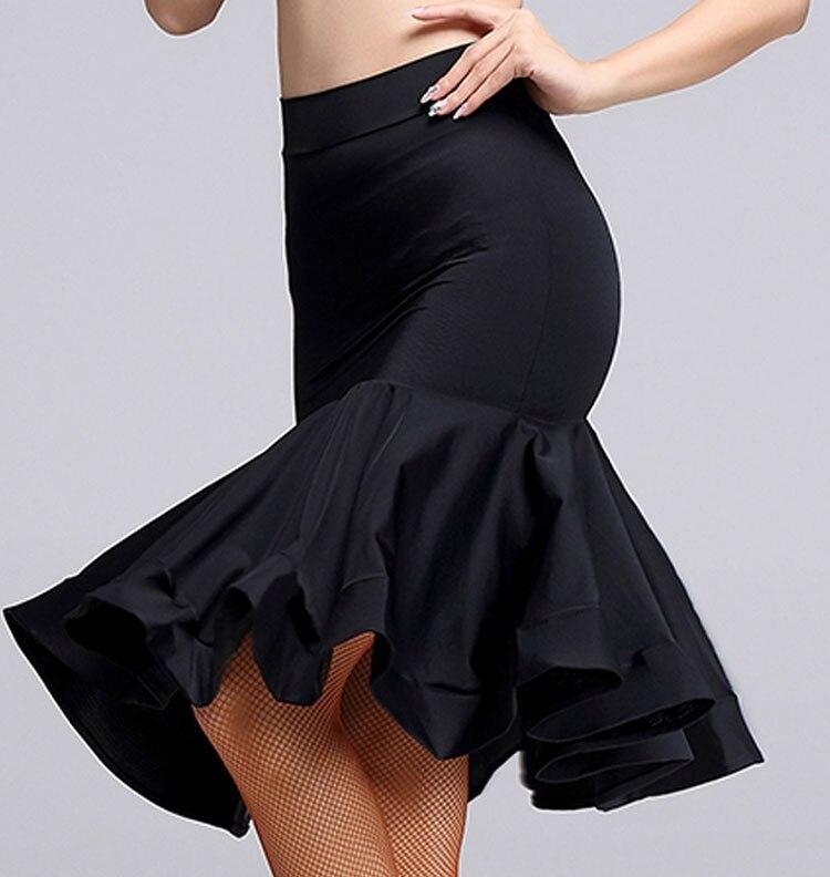 2020 New Women Black Latin Dance Skirt Adult Latin Ballroom Salsa Tango Rumba Cha Cha Mermaid Skirt Latin Dance Wear Woman