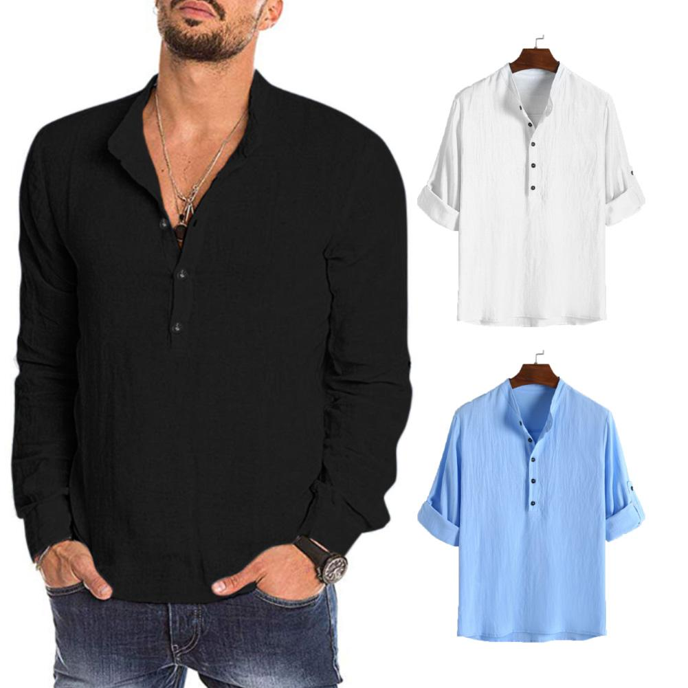 Fashion Men Solid Color Buttons Stand Collar Long Sleeve Shirt Pullover Blouse Solid Color Button Stand Collar Comfortable Top