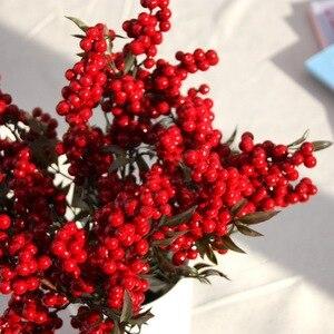 Image 4 - Flor Artificial con bayas rojas falsas, flor de Navidad, árbol de decoración de Año Nuevo, baya Artificial, decoración de Navidad para el hogar