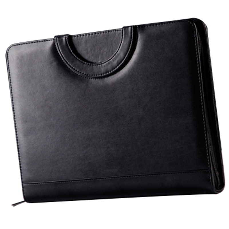 A4 Document Folder Pu Leather Zipped Ring Binder Portable Conference Bag Business Briefcase Office School Notebook Multi-Funct