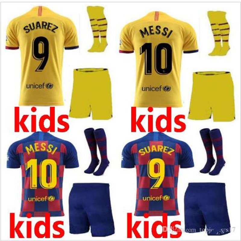 online retailer 7794c 22b0e US $16.14 15% OFF|kid kit 2019 Barcelona Jersey soccer jersey kids suit+  socks 19/20 SUAREZ COUTINHO ARTHUR DE LIGT DE JONG child football shirt on  ...