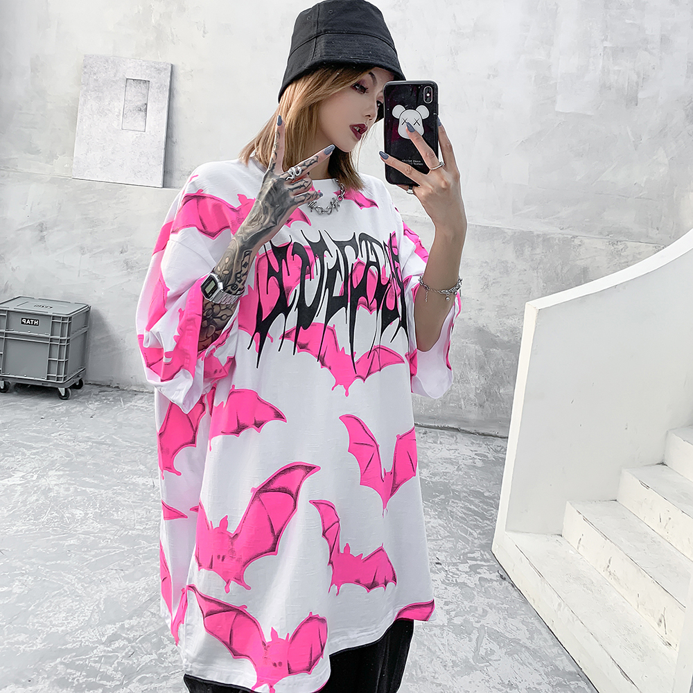 Pink Bat Graphic Tees Women Punk Shirt Gothic Oversized T Shirt Streetwear Summer Goth Clothes Oversize Tshirt 2020 Fashion Top(China)