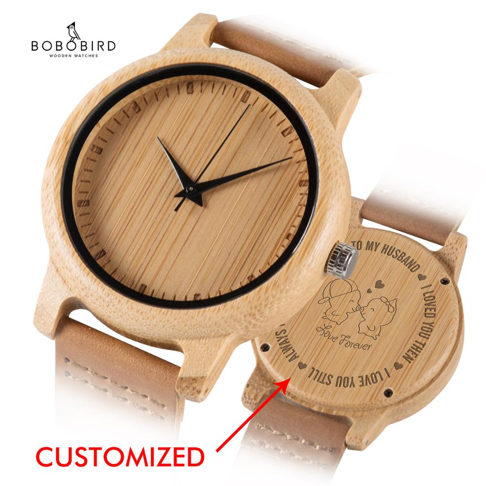 BOBO BIRD Wooden Couple Watches Engrave Back Cover Genuine Leather For Lovers Fashion Quartz Wristwatch With Gift Box  Dropship