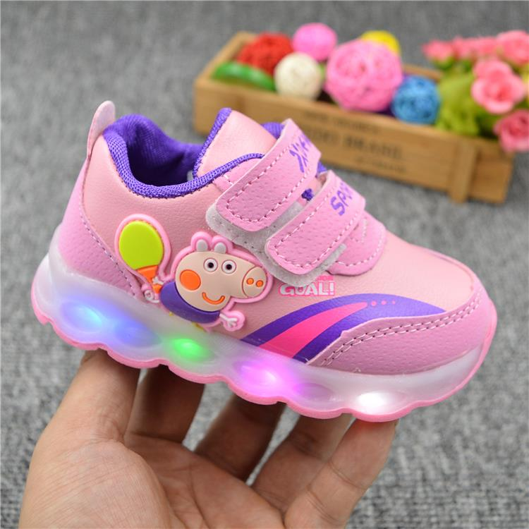 Peppa Pig Children Shoes Light Girl Led Shoes Kids Sneakers Cartoon Casual Toddler Peppa Shoes Infant Baby Outdoor  Buckle Shoes