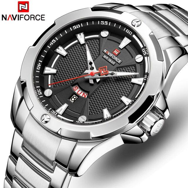 Часы наручные NAVIFORCE Мужские кварцевые, люксовые брендовые аналоговые водонепроницаемые из нержавеющей стали, с датой