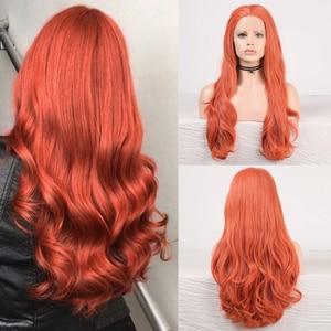 Image 1 - כריזמה גוף גל תחרה קדמית פאות משלוח חלק אדום סינטטי פאת תחרה מול פאת טמפרטורה גבוהה סיבי שיער נשים פאות