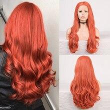 Charisma волнистые кружевные передние парики, свободная часть, красный парик, синтетические передние парики, высокотемпературные волосы для же...