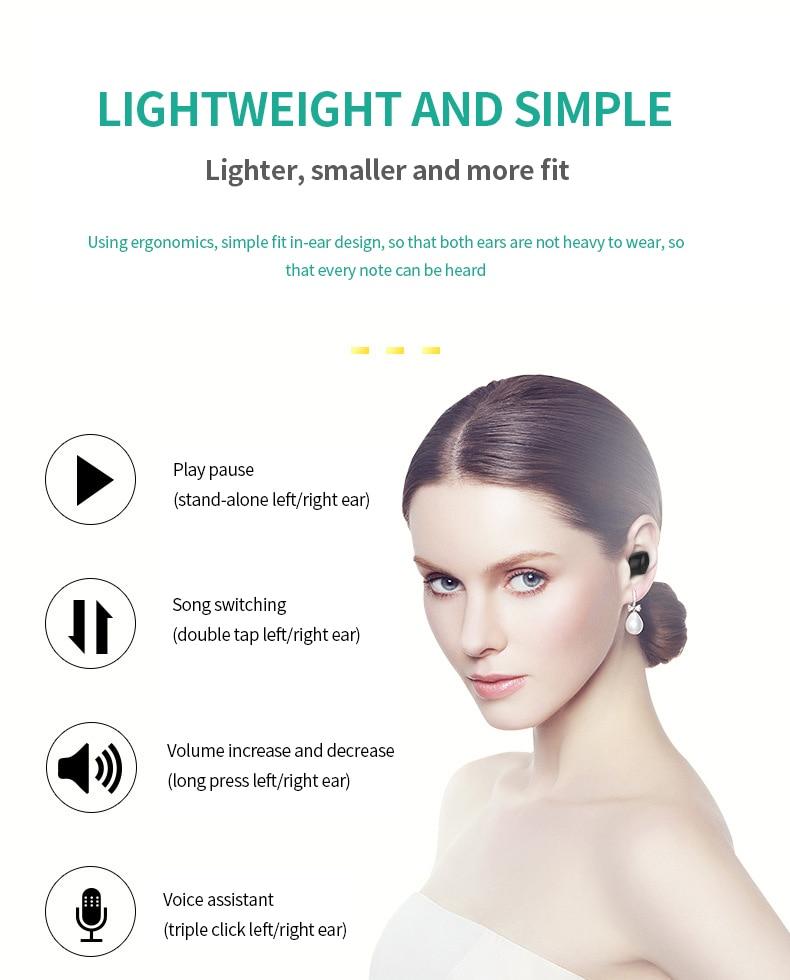 binaural redução de ruído toque fone de ouvido impermeável