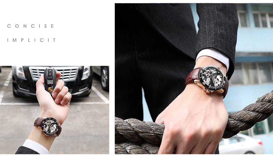 H97a695f2d94d44a1bea0a38d8ca31742g MEGIR Men Mechanical Wristwatches Leather Strap Automatic Mechanical