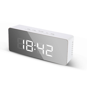 Digital Alarm Clock Mirror LED Night Lights Thermometer Wall Clock Lamp Square Rectangle Multi-function Desk Clocks USB/AAA