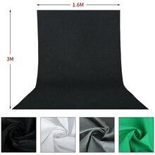 צילום 4PCS 1.6x3M רקע תפאורות ירוק מסך Chroma מפתח עבור תמונה סטודיו לא ארוג 4 צבעים לבן שחור ירוק אפור