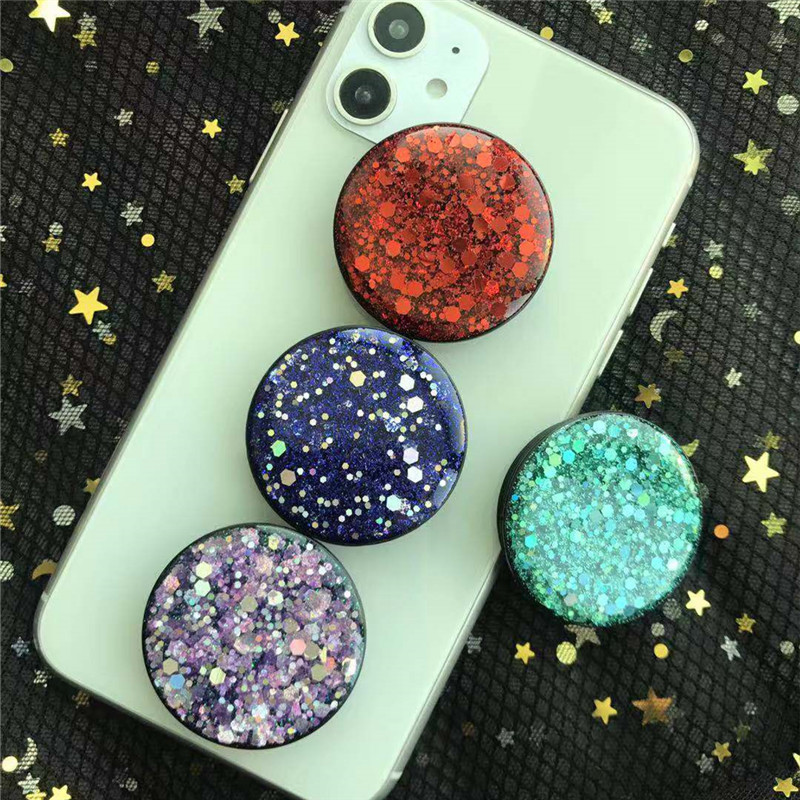 Glitter Epoxy Phone Holder Universal Expanding Stand And Grip For Phone Socket Holder Charging Cable For Phones