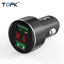TOPK G209 Digital Display Dual USB Car Charger for iPhone Xs Max Samsung Xiaomi 3.1A Voltage Monitoring For Phone