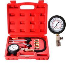 8 PCS Auto Fuel Injection Pump Pressure Tester Kit Car Petrol Gas Engine Cylinder Compression Gauge Car Diagnostic Tool